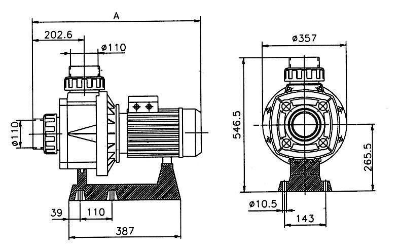 Pumpa KRETA 89 m3/h 400 V – napojení 110 mm 5,75 kW