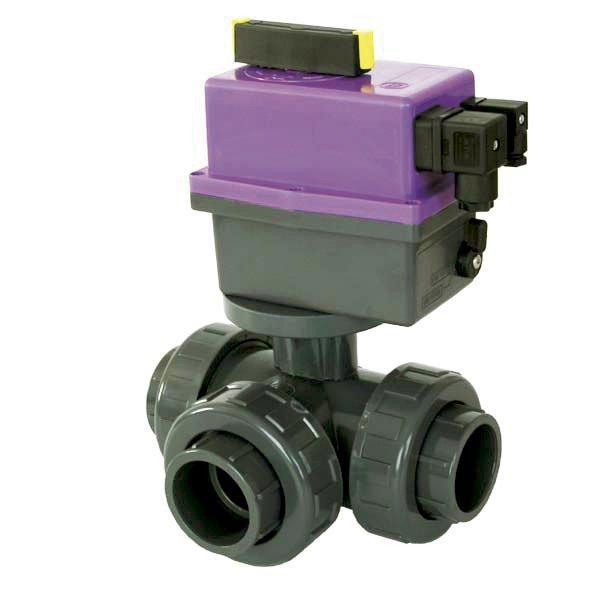 PVC Kulový el. třícestný ventil 50 mm nové FIP-L